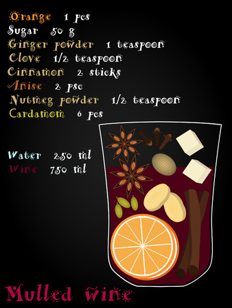 clove: Recipe mulled wine with christmas spices. Orange, anise, cinnamon, ginger clove cardamom