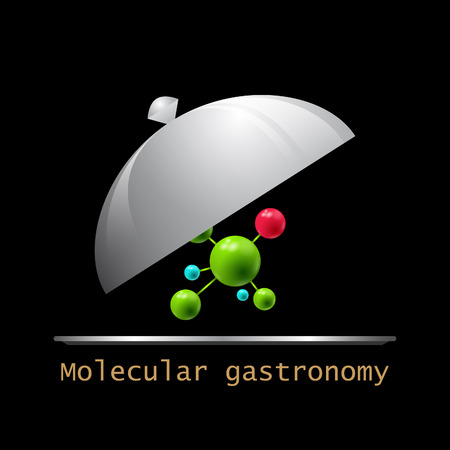 Molecular gastronomy. Stylized molecular structure and serving dishes. Illustration