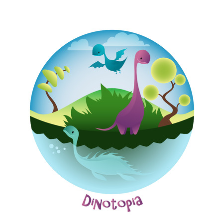 ascendant: Cartoon landscape with lovely Dino. Dinotopia and Dinosaurs.