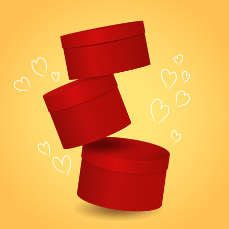 red gift box: Three isolated round red decorative gift box with drawn hearts
