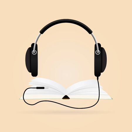 techology: Headphones with books. Audio-book concept. Modern techology. Illustration