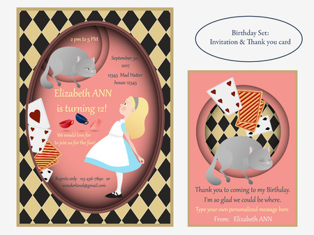Alice in Wonderland. Cheshire cat. Birthday Invitation.