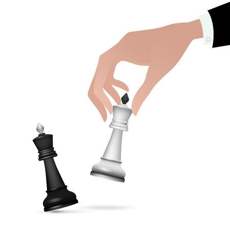 Strategist holding in hand chess figure black king