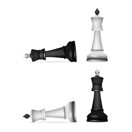 Victory chess figures chessmen isolated on white Stock Photo