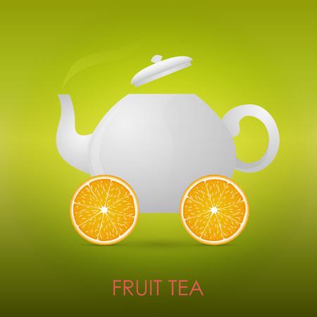 Abstract Fruit Tea. Teapot, orange slices. Vector illustration. Illustration