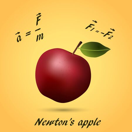 Apple made of equations and formula. Vector illustration.