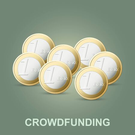 Vector crowdfunding concept. New business model. Crowd donation.