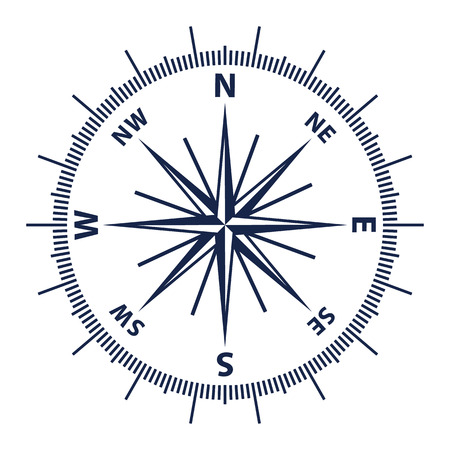Wind rose vector illustration. Nautical compass icon isolated on white background. Vettoriali