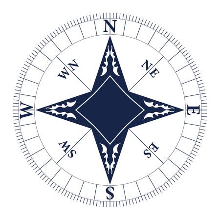Windrose Vektor-Illustration. Seekompassikone getrennt auf weißem Hintergrund. Standard-Bild - 86278049