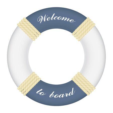 Big marine lifebuoy ring with rope isolated on white background