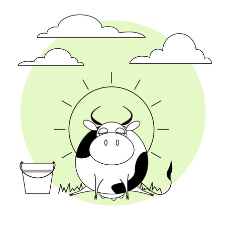 Cute cow with milk bucket. Grass, sun and clouds.