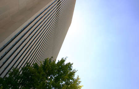 extreme angle: A towering office building looming at an extreme angle.