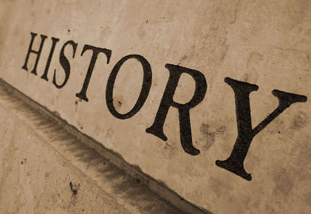 history: The word history carved in stone