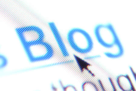 Shallow depth of field on part of a blog hyperlink, bringing individual pixels into focus. Stock Photo
