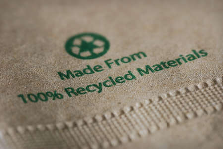 Made from 100% Recycled Materials Stock Photo