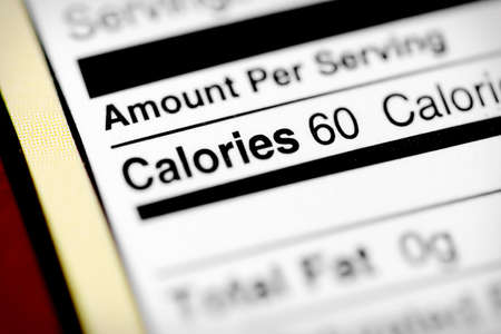 Nutritional label with focus on calories. Stock Photo
