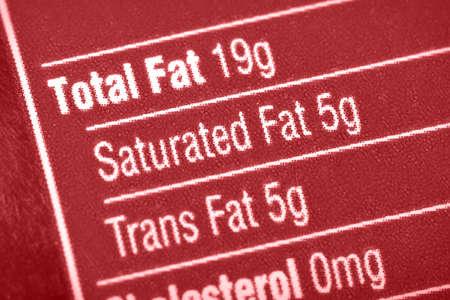 栄養ラベル脂肪に焦点を当てる。 写真素材
