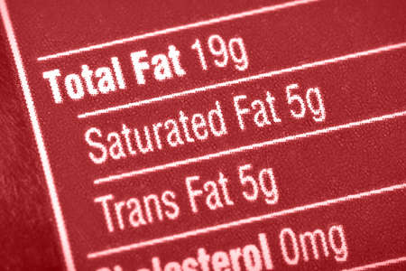dietician: Nutritional label with focus on fats.