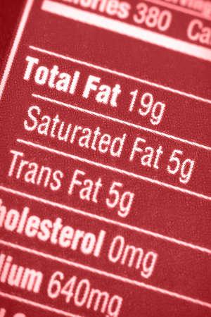grasas saturadas: Etiqueta nutricional, con especial atenci�n a todas las grasas.