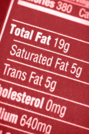 Nutritional label with focus on all the fats.