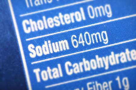 pressure: Nutritional label with focus on sodiumsalt.