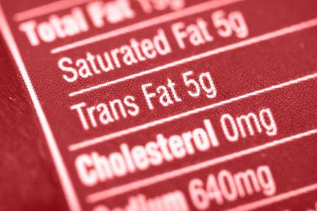 栄養ラベル高トランス脂肪に焦点を当てる。