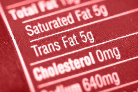 Nutritional label with focus on high Trans Fats.