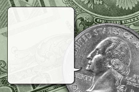 george washington: Closeup of U.S. money, translucent speech balloon, little open mouth Stock Photo