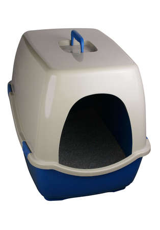 A cats litter box on white
