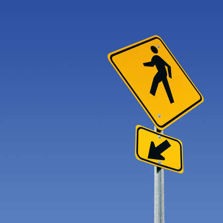 Pedestrian crossing street sign with room for copy