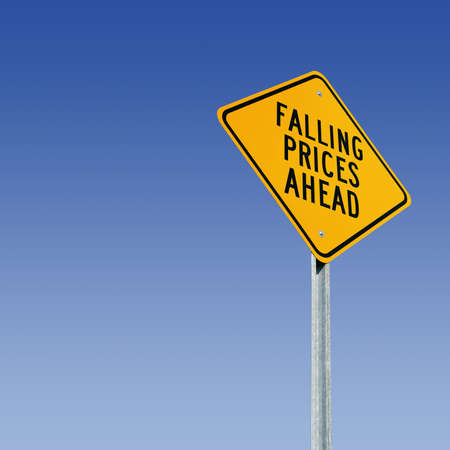 low prices: Road sign tells of a big sale