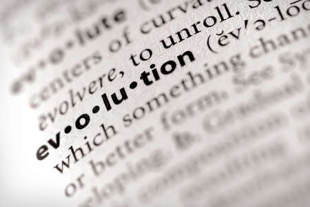 Selective focus on the word evolution