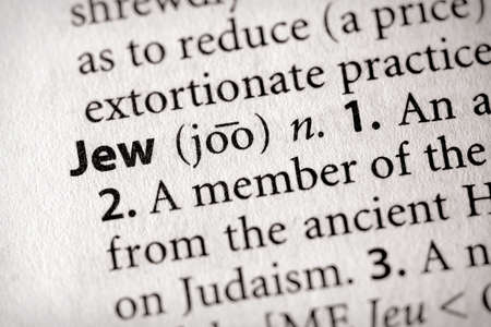 hasidic: Selective focus on the word Jew Stock Photo