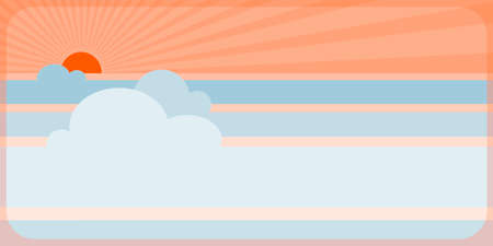 fully: Illustration of sunset or sunrise, fully editable, no transparencies