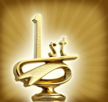 primer lugar: Golden primer lugar trofeo brilla