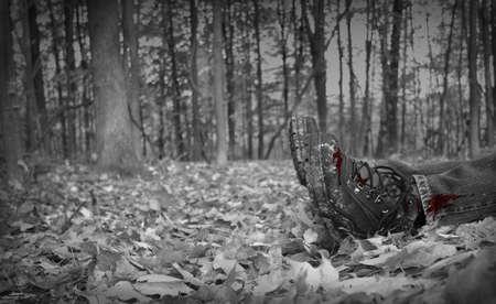 escena del crimen: Rojo salpicado de sangre en las botas de una v�ctima de asesinato (ficticio) en el bosque Foto de archivo