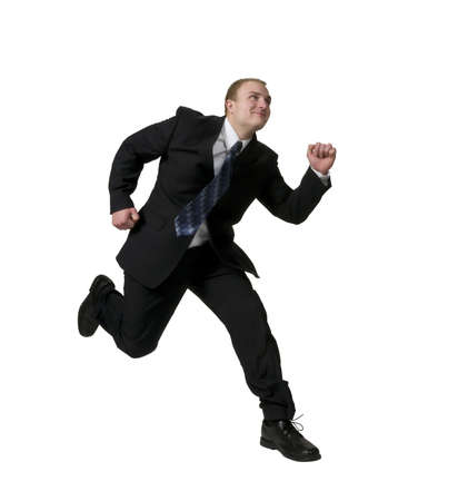 Businessman running to success, ahead of the competition