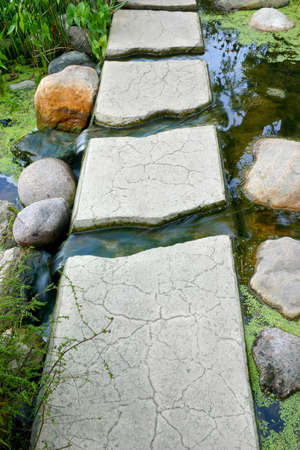 Path or bridge of stepping stones over a creek photo