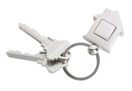 House keys with a blank keyring fob for your logo or graphic Stok Fotoğraf