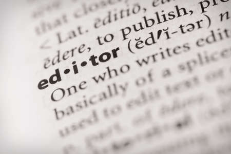 editor: Selective focus on the dictionary word EDITOR Stock Photo