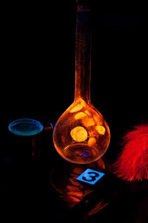 forensic science: True fluorescence fingerprint with ruler.