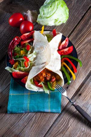 Tortilla with chili con carne. photo