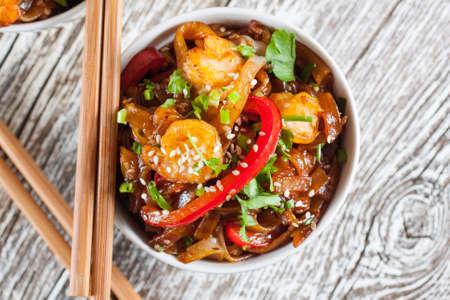 rice noodles: Fried rice noodles with shrimp - selective focus.