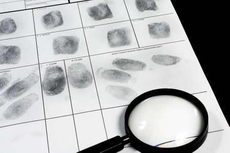 Fingerprint on police fingerprint card. Stock Photo