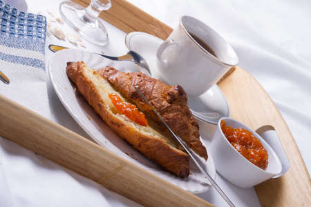 wooden bed: Romantic breakfast in bed on a wooden tray.