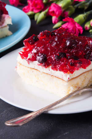gillyflower: Piece of forest fruit cake with jelly and cream on a plate