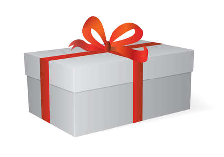 A box with red tape. Vector illustration Vector
