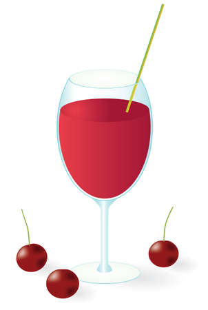 juicy: Cherry juice in the glass. Vector illustration