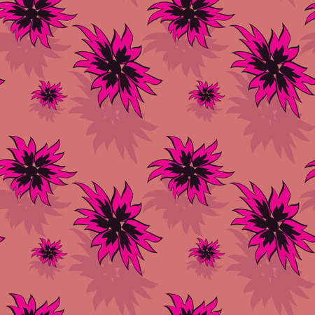 Seamless background with red flowers. Vector illustration Vector