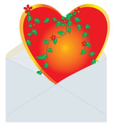 Heart in the mail envelope. Vector illustration Stock Vector - 3898461